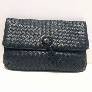Bottega Veneta Blue Leather Intrecciato Clutch